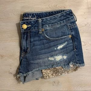 American Eagle Sequin Pocket Jean Shorts